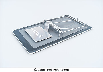 Smartphone dependency concept - Mobile phone with mouse trap...