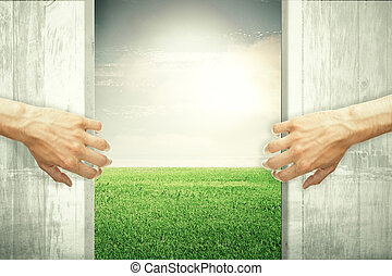 Nature concept - Hands opening abstract wooden doors,...