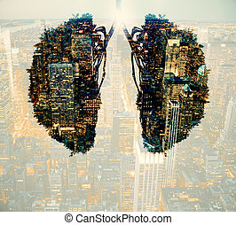 Environment and health concept - Abstract human lungs on...