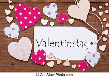 Label, Pink Hearts, Text Valentinstag Means Valentines Day -...