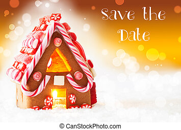 Gingerbread House, Golden Background, English Text Save The...