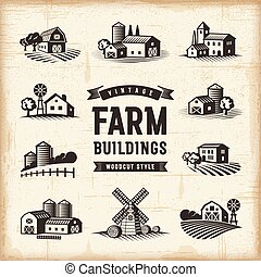 Vintage Farm Buildings Set - A set of vintage farm buildings...