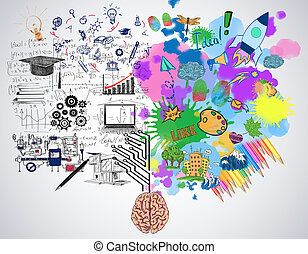 Creative and analytical thinking concept - Bright colorful...