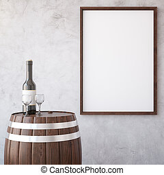 Wine and wooden frame - Barrel with wine glass and bottle on...