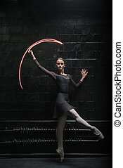 Delighted ballet dancer showing her grace - Ballet dancer ....