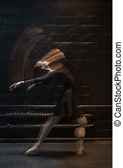 Flexible dancer dancing on the dark background - Flexible...