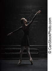 Graceful dancer posing in the dark room - I enjoy dancing....
