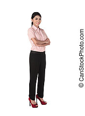 Confident asian business woman isolated over white...