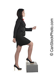 Business woman step up isolated over white background