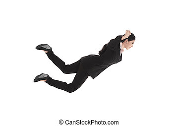 Falling and screaming business woman in formal wear over...
