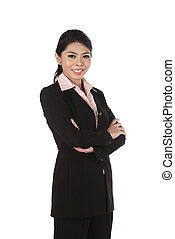 Asian business woman isolated over white background