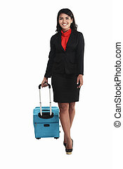 Asian Business Woman Walking With Suitcase - Asian business...