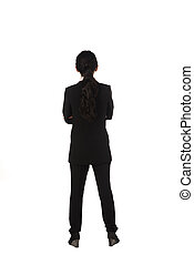 Asian business woman standing backview isolated over white...