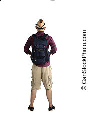 Backview Of Traveler Man - Backview of traveler man isolated...