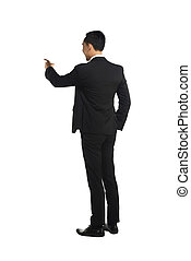 Fullbody Asian Business Man Pointing Something - Asian...