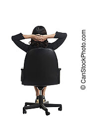 Asian business woman sitting backview isolated over white...