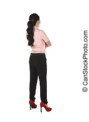 Fullbody Asian Business Woman - Backview of asian business...