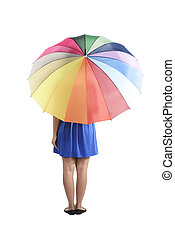 Backview Of Woman Holding Colorful Umbrella - Backview of...