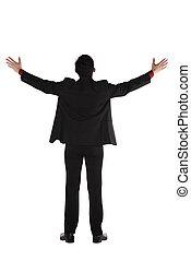 Asian Business Man Standing Backview - Asian business man...