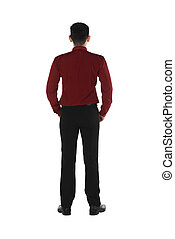 Back view of confident asian business man