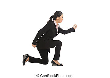 Asian business woman running isolated over white background