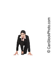 Asian business woman start running isolated over white...