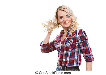 Portrait of mid aged blonde woman, happy smiling mature...