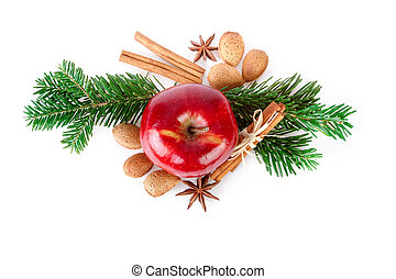 Red Apple with Christmas spices on white background. Flat...
