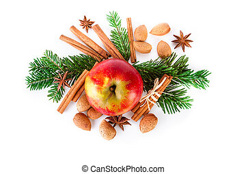 Christmas composition with red apple and winter spices on...