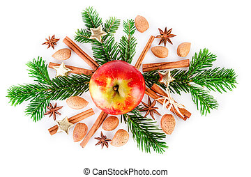 Christmas composition with red apple and aromatic spices on...