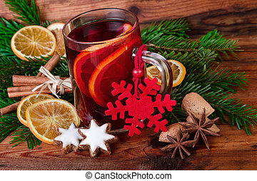 Mulled wine christmas decorated vintage style