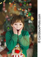 Portrait of Wondering Kid Girl Before Christmas Tree -...