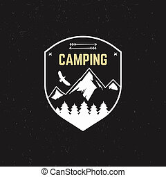 Stamp for outdoor camp. Tourism hipster style patch and...