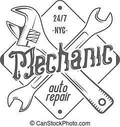 Vintage label design. Mechanic auto repair patch in old style with tools. Use for  station, car service logo, badge, insignia. Retro monochrome . Vector stamp.