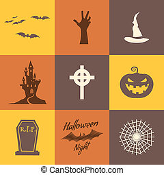 Set of halloween icons isolate on multicolor backgrounds....