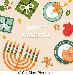 merry christmas and happy hanukkah celebration. vector...