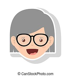 front face elderly woman with glasses and short hair vector...