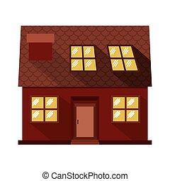 facade confortable house with attic