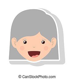 front face elderly woman with straight short hair vector...