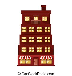 facade apartment with several floors vector illustration