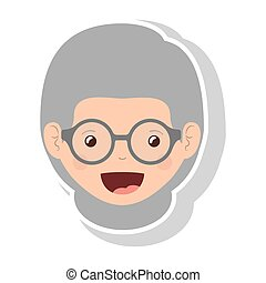 front face elderly woman with glasses vector illustration
