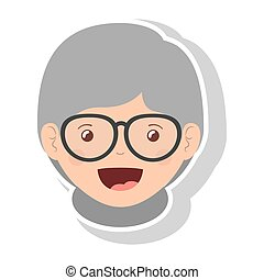 front face elderly woman smiling with glasses vector...