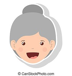 front face elderly woman smiling vector illustration