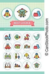 icon set toy vector