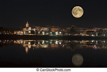 Fredericton in the moonlight New Brunswick, Canada -...