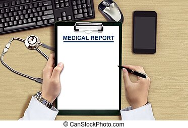 Doctor reading medical chart from top view angle