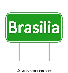 Brasilia road sign. - Brasilia road sign isolated on white...