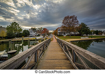 Bridge and houses in along the harbor, in St. Michaels,...