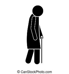 icon silhouette elderly woman with walking stick vector...