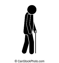 icon silhouette elderly man with walking stick vector...